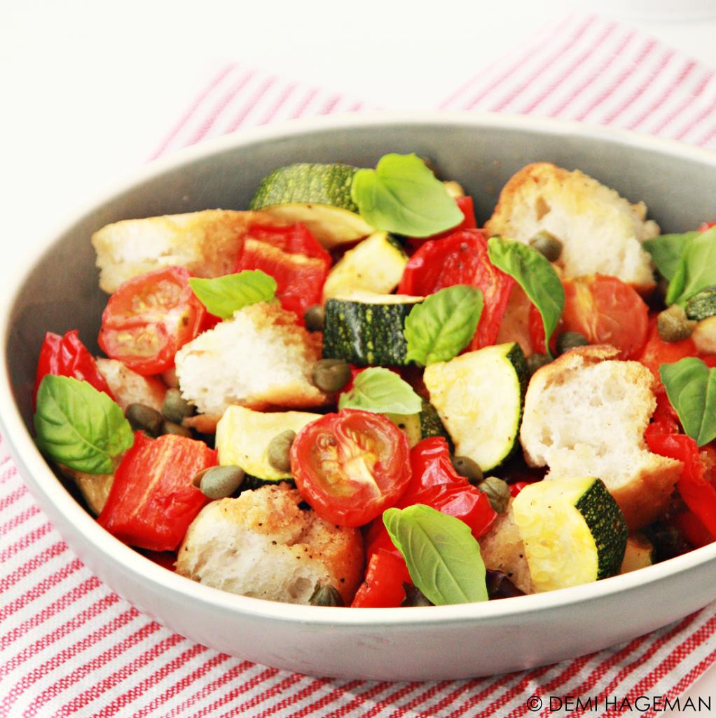 koken met restjes panzanella met geroosterde groenten