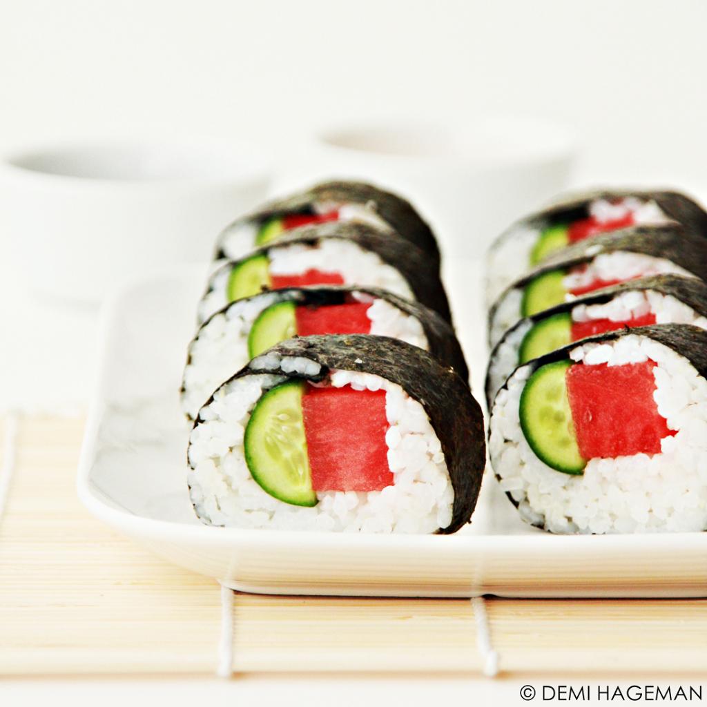 sushi met watermeloen