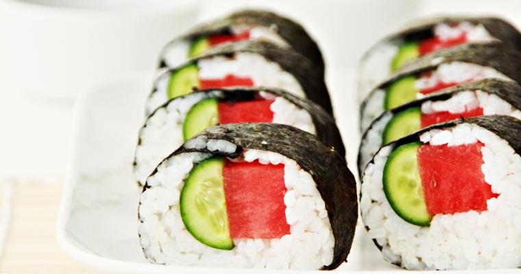 Maki sushi met watermeloen