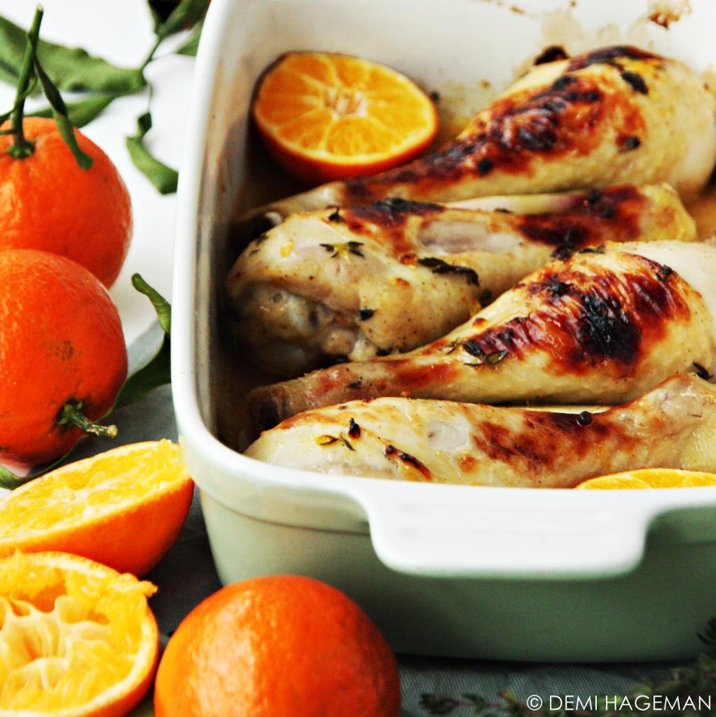 kippendrumsticks uit de oven met mandarijn en tijm