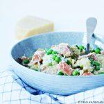Risi e bisi met zalm (risotto met doperwtjes en zalm)