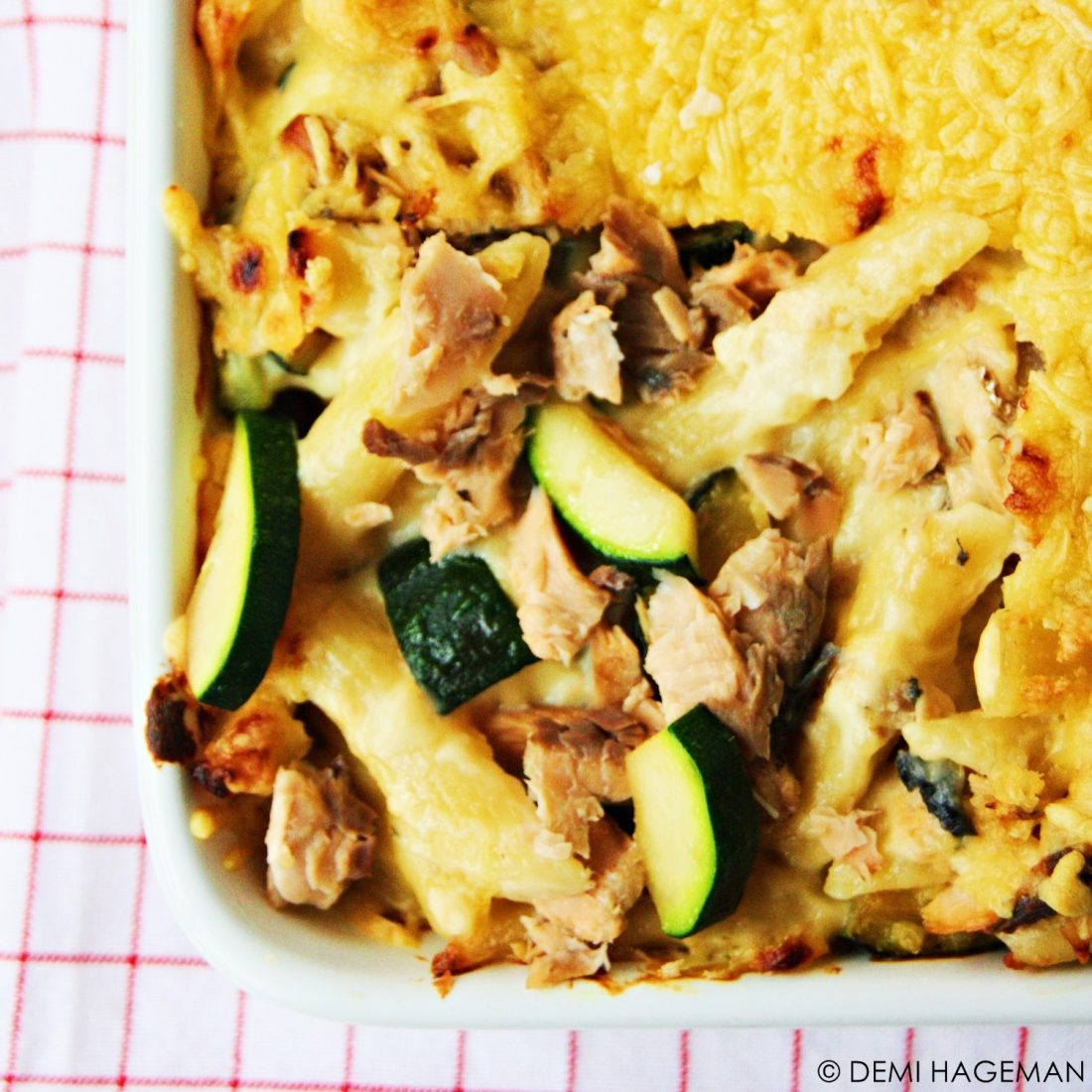 mac 'n cheese met zalm en courgette