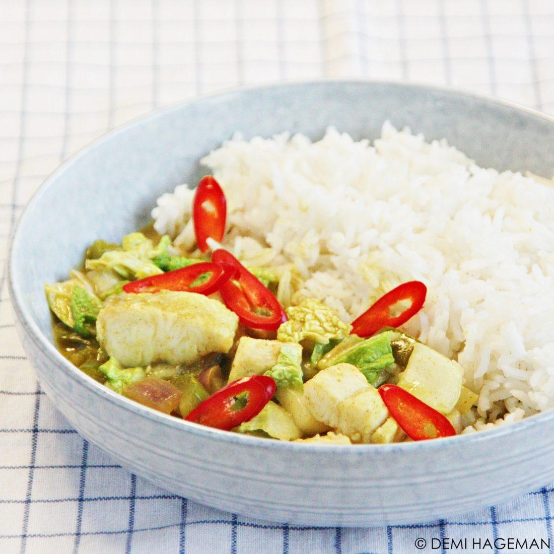 groene curry met pangafilet en chinese kool
