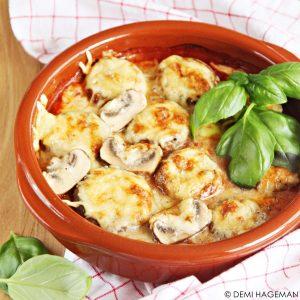 gevulde champignons uit de oven met gorgonzola