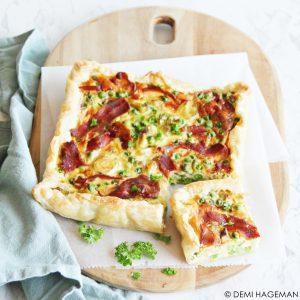 prei quiche met krokant spek en doperwtjes