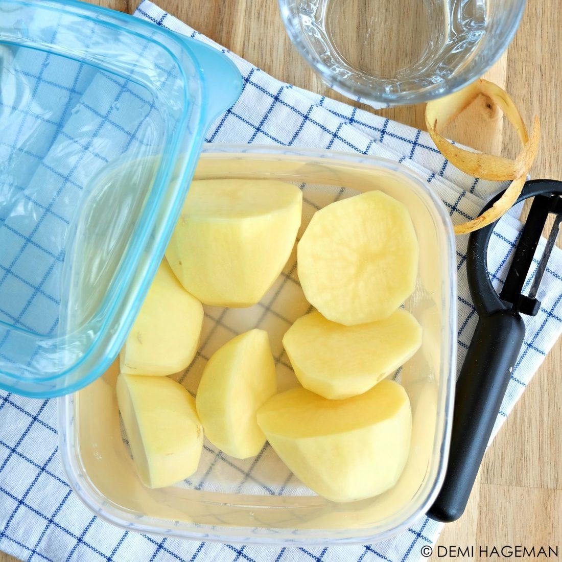 geschilde aardappelen bewaren zonder verkleuren
