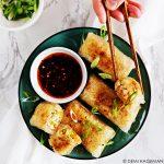 Rijstvel dumplings met vegetarische vulling